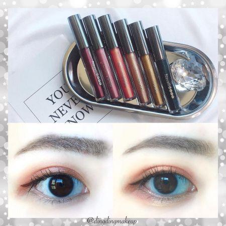 金屬光微醺眼唇釉可以當作眼影和唇釉,示範三隻當唇釉的試色,當眼影很滑順飽和,很服貼